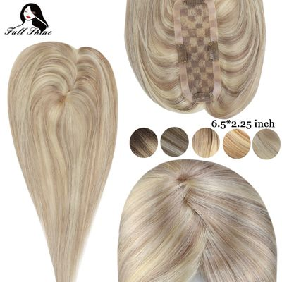 Full Shine Hair Topper Ombre Color Machine Remy 6.5*2.25inch Crown For Women Mono Toppers With Clip Toupee For Thinning Hair