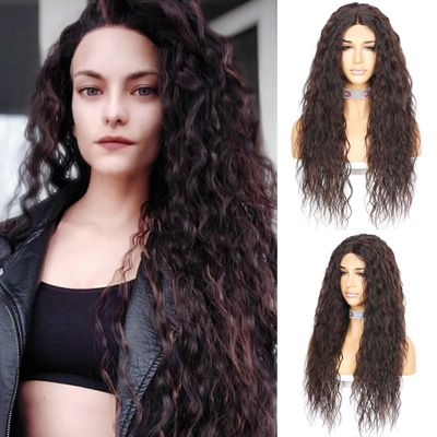BeautyTown Kinky Curly Futura Heat Resistant Hair JBrown Black Highlight Gold Women Daily Makeup Synthetic Lace Front Party Wig