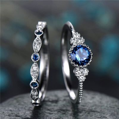Fashion Jewelry Blue /  Green Color Engagement And Wedding Rings Set For Women Ladies Jewelry Gifts