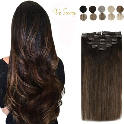 [HOT SALE]VeSunny Clip in Hair Extensions Machine Made Remy Human Hair 120G/7pcs Double Weft Clip on Hair Highlight Colors Hair