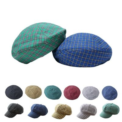 Plaid Beret for Women Cotton Casual French New Autumn Winter Spring Hats Fashion Female Ladies Newsboy Japan British Flat Cap