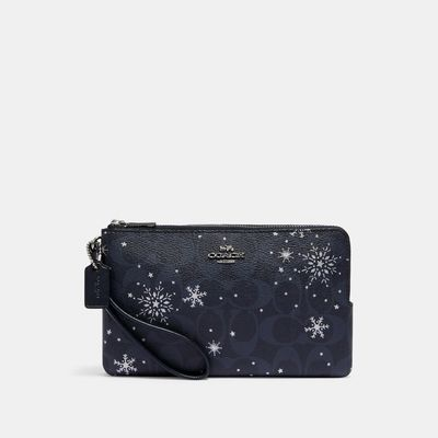 COACH Double Zip Wallet In Signature Canvas With Snowflake Print