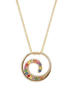 Effy 14K Yellow Gold, Multicolored Sapphire & Diamond Wave Pendant Necklace