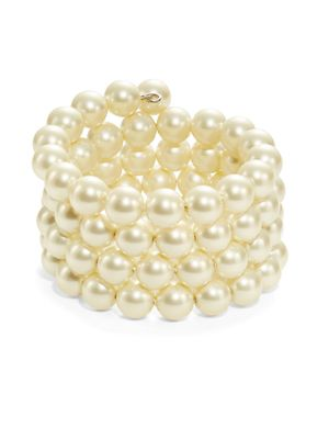Kenneth Jay Lane Faux Pearl Coil Bracelet