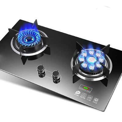 Home Gas Stove Embedded Double Dual-cooker Natural Gas Liquid Gas Desktop Furnace Commercial 2 Pot Built-in Hobs Kitchen Ranges