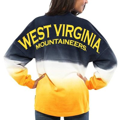 West Virginia Mountaineers Women's Ombre Long Sleeve Dip-Dyed Spirit Jersey - Navy
