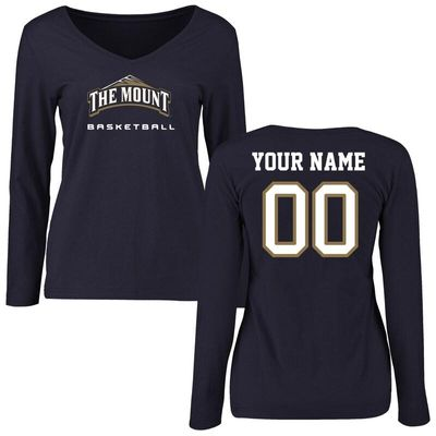 Mount St. Mary's Mountaineers Women's Personalized Basketball Long Sleeve T-Shirt - Navy