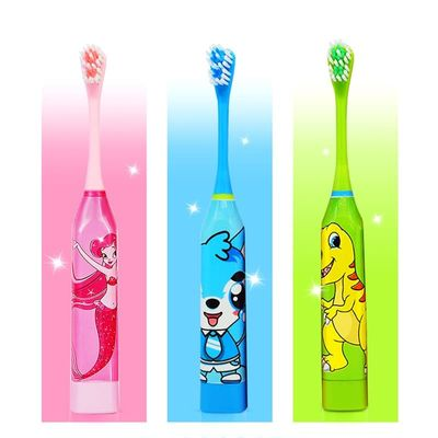 Children Cartoon Pattern Acoustic Wave Electric Toothbrush Kids Home Cute Soft Hair Electric Teeth Brush Double-sided Clean