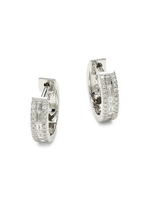 Saks Fifth Avenue 14K White Gold, & 0.34 TCW Diamond Baguette Huggie Earrings