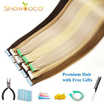 ShowCoco Walker Blue Tape in Human Hair Extensions Virgin Remy Hair 10A Salon Quality Tape Hair Extensions 20pcs-80pcs
