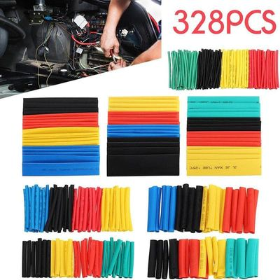 Hot 328pcs Car Assorted Electrical Cable Heat Shrink Tube Automobile Cable Sleeve Thermal Shrinkage Sleeve Insulation Protection