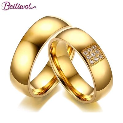 Beiliwol Fashion Wedding Rings for Women & Men AAA Zircon Simple Titanium Steel Gold-Color Engagement Jewelry Couple Ring Gift