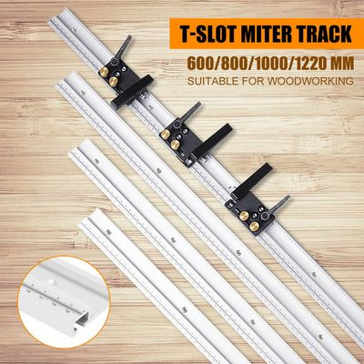 600/800/1000/1200mm Aluminum Alloy T-Track Woodworking T-slot Miter Track with Scale/Miter Track Stop