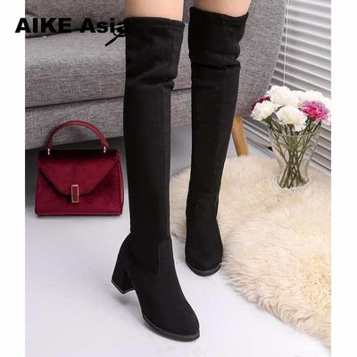 2019 Women Casual Over The Knee Boots Shoes Winter Women Female Round Toe Platform High Heels Pumps Warm Snow Boots Mujer W391