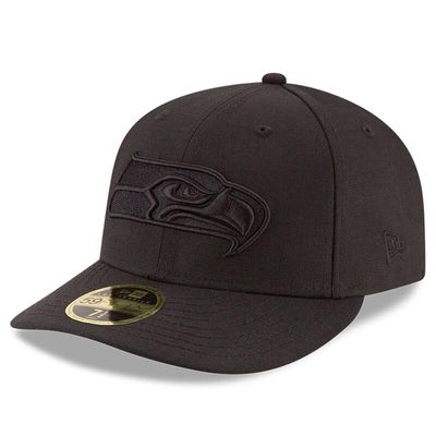 Seattle Seahawks New Era Black On Black Low Profile 59FIFTY Fitted Hat