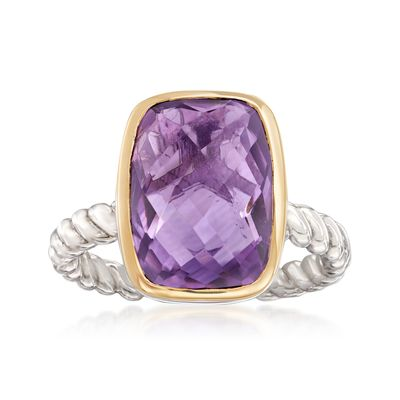 Ross-Simons Cushion-Cut Amethyst Ring in Sterling Silver and 14kt Yellow Gold