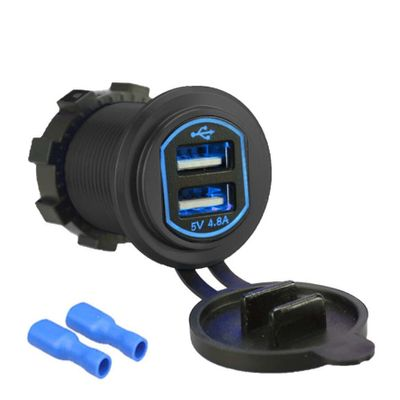 Dual USB LED Quick Charger Socket Power Outlet 2.4A & 2.4A (4.8A) with Wire In-line 10A Fuse for Motorcycle RV Truck Camper