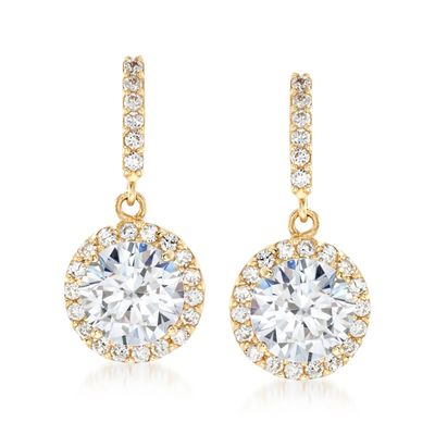 Ross-Simons CZ Halo Drop Earrings in 14kt Yellow Gold