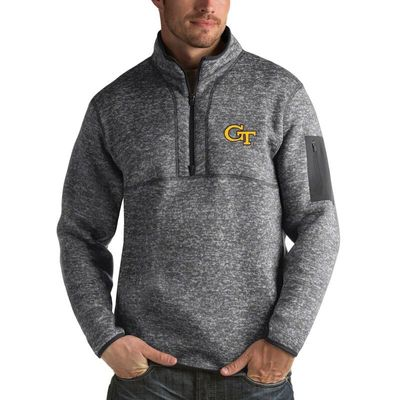 GA Tech Yellow Jackets Antigua Fortune 1/2-Zip Pullover Sweater - Heathered Charcoal