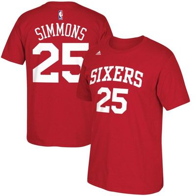 Ben Simmons Philadelphia 76ers adidas Net Number T-Shirt - Red