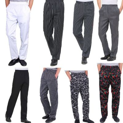 High Quality Chef uniforms kitchen cooker work clothes white pants hotel restaurant bakery catering elastic trousers zebra pants