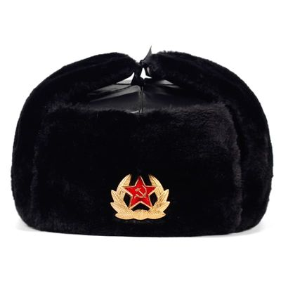 Soviet Army Military Badge Russia Ushanka Bomber Hats Pilot Trapper trooper Hat Winter Faux Rabbit Fur Earflap Men Snow Caps