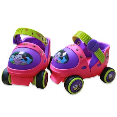 Adjustable Children Roller Skates With Safety Off Button Resistance Material 2 Colors Double Row 4 Wheels Skating Shoes