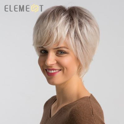 Element 6 inch Short Synthetic Wig Blend 50% Human Hair for Women Fashion Pixie Cut Party Daily Wear Wigs Free Shipping