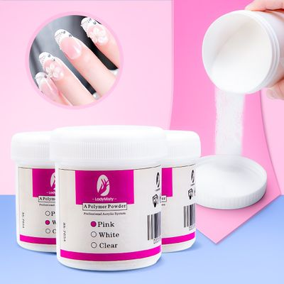 120ml Acrylic Powder Clear Pink White Carving Crystal Polymer 3D Nail Art Crystal Powders Builder Gel Tips Builder for Nails