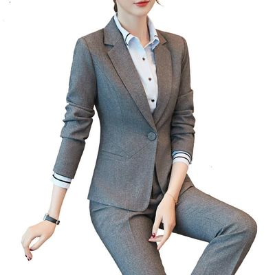 New Women's Formal Suits, Womens Tops And Blouses Office Ladies Slim Blazer Pants Large Black Grey Work Wear Costume Femme Suit