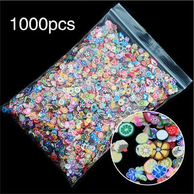1pack Nail Art 3D Fruit Flowers Feather Design Tiny Slices Polymer Clay DIY  Nail Sticker Decorations High Quality