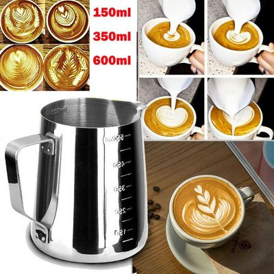 150/350/600ML Stainless Steel Milk Craft Coffee Latte Frothing Art Jug Pitcher Mug Cup Christmas New Year Decoration Big Sales