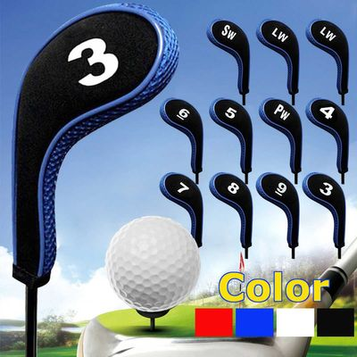 12Pcs/set Golf Clubs Iron Head Covers Headcovers with Zipper Long Neck 4 Color