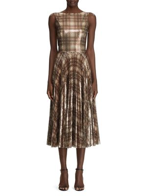 Ralph Lauren Arwen Embellished Plaid Cocktail Dress