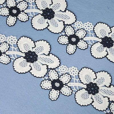 7Yards/lot women lace latest 93mm Lace Trim Embroidered lace Trimmings for Sewing Decoration lace fabric Black white flowers