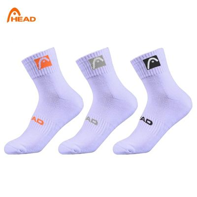 3 pairs of socks Head white men and women Sports sock cotton tennis sports Middle tube sock Sweat thickening Sock