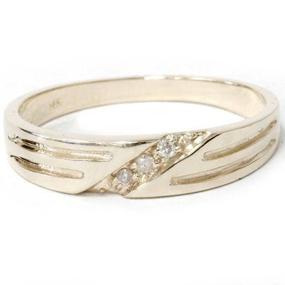 Mens 14k Yellow Gold Diamond Wedding Anniversary Ring