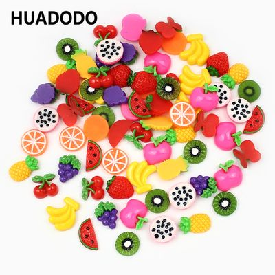 HUADODO 30Pieces Mini Artificial Fruit Flat Back Resin Beads For Scrapbooking DIY Cabochon Decorative Accessories