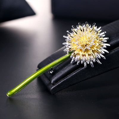 2019 New Green Dandelion Flower Enamel Brooches Women Men's Weddings Plants Brooch Pins Gifts