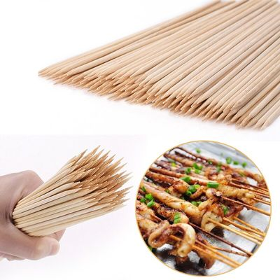 Sale 55/90pcs Bamboo Skewers Wooden Barbecue Skewers Natural Wood Sticks Barbecue Accessories Cooking Tool