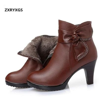 ZXRYXGS brand bow women fashion shoes winter ankle boots 2019 warm wool genuine leather shoes woman snow boots high heel boots