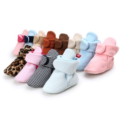 Baby Boys Girls Boots Shoes Newborn Infant Cotton Soft Anti-slip Warm Fleece Booties Warm Winter Socks Slippers Crib Shoes