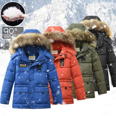 2019 New Boys Down Jacket Retail Brands Children Winter Warm Thick White Duck Down Coat Teenagers High-quality Fur Hooded Jacket