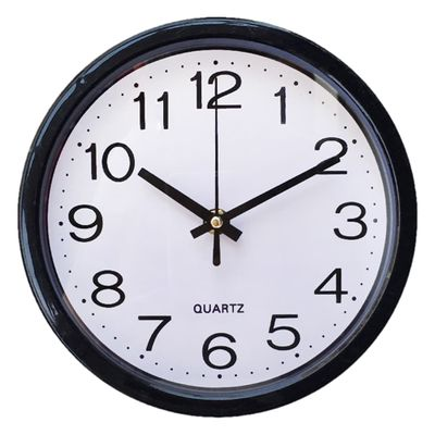 Plastic Decorative 8 Inch Modern Living Room Quartz Silent Round Battery Operated Time Home Accurate Fashion Wall Clock Office