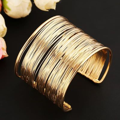 Fashion Women's Multilayer Metal Wires Strings Open Bangle Wide Cuff Bracelet Girls Fashion Jewelry Accessories Best Gift