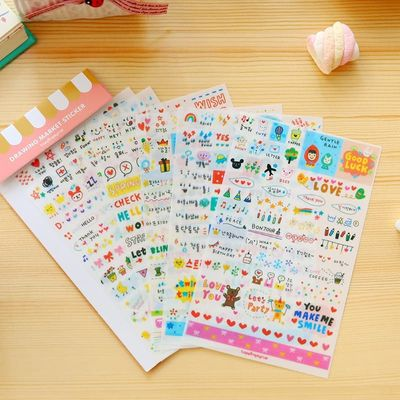 6 Sheets / Pack Kawaii Cute Drawing Market Planner Paper Diary Deco Stickers Pvc Transparent Scrapbooking