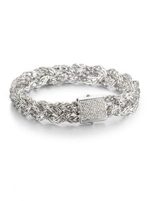 John Hardy Classic Chain Diamond & Sterling Silver Small Braided Bracelet