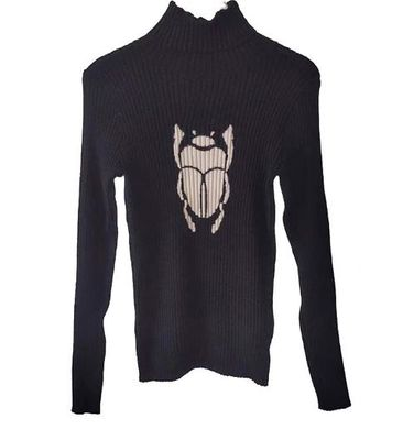 Autumn winter self-cultivation ladies high collar long-sleeved beetle jacquard knit top fashion wild women's sweater