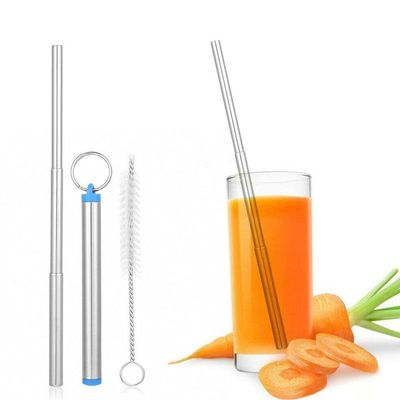 Collapsible Portable Foldable Metal Straws Drinking Folding Stainless Steel Travel Straw Reusable Fold Straw Bar Accessories