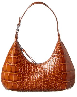 By Far Baby Croc-Embossed Leather Shoulder Bag